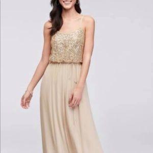 David's bridal size 8 gold bridesmaids dress